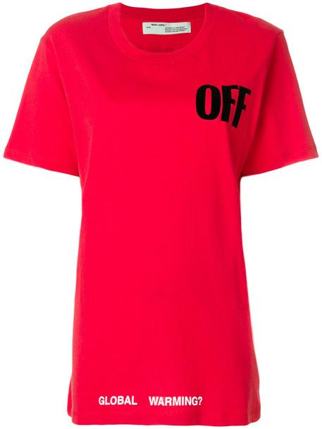 Off-White - Global Warming T-shirt - women - Cotton - XS, Red, Cotton