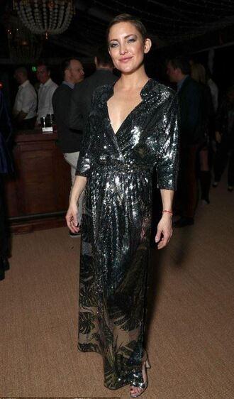 dress metallic kate hudson silver maxi dress