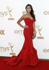 dress,red,gown,glamour,floor length,nina dobrev