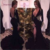 dress,black dress,embroidered,mermaid prom dress,prom dress,gown,evening dress,long dress,long sleeves,black and gold