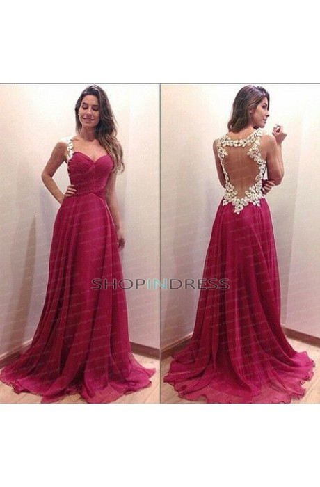 Princess sweetheart floor length chiffon red prom dress with appliques npd098093 sale at shopindress.com