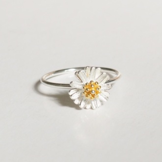 floral daisy flower ring flowers daisy ring knuckle ring ring armor ring silver ring