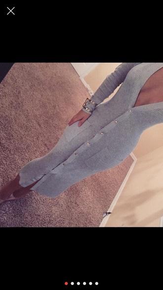 dress pockets bodycon grey buttons grey dress knitted dress button up dress midi dress