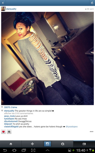 backless blue sweater grey cut offs zonnique pullins zonnique star omg girlz mindless team mindless mindless behavior pullover see through cut off back long sweater grunge soft grunge