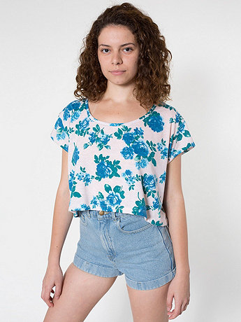 Floral Printed Loose Crop Tee | American Apparel