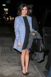 lucy hale,pointed toe,pumps,jimmy choo,saint laurent,blue coat