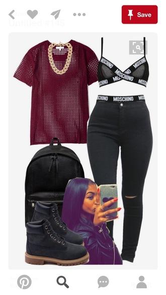 t-shirt purple mesh top