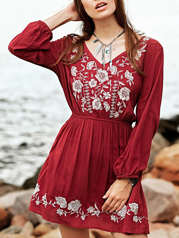 dress fashion style long sleeves red dress floral trendy summer spring feminine zaful