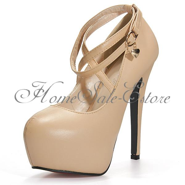 Sexy Women Lady Platform Pump Stiletto High Heels Ankle Buckle Cross Strap Shoes