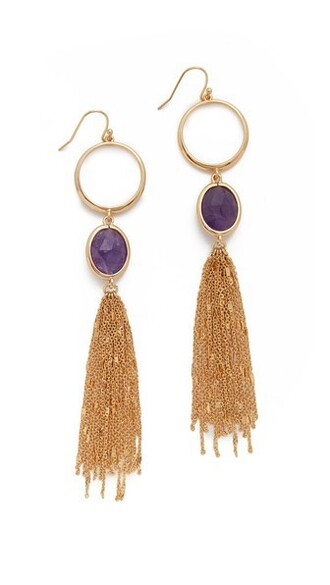 statement earrings gold purple jewels