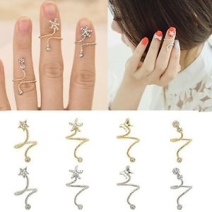 TOP Above Knuckle Starfish Butterfly Flower Spiral Opening Ring Finger Nail Ring | eBay