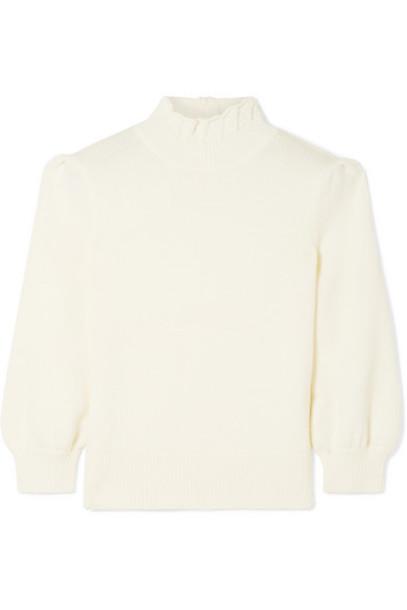 Co - Ruffled Merino Wool Turtleneck Sweater - Ivory