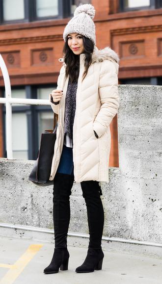 jacket white beanie white puffer jacket black over knee boots blogger