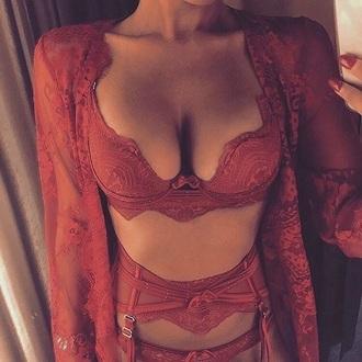 underwear sexy lingerie redlingerie bra lingerie lingerie set orange cardigan valentines day gift idea lace top lace lingerie lace bralette bralette robe sexy seductive
