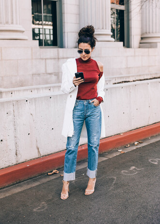 hello fashion blogger t-shirt coat shoes red top white coat high heel sandals nude heels jeans