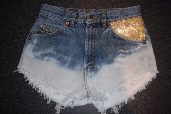 shorts glitter denim