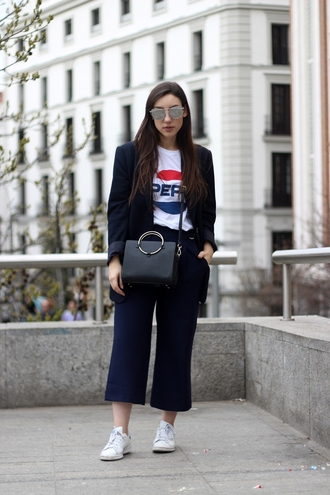 pants blue blazer tumblr navy blue pants cropped pants culottes t-shirt white t-shirt logo tee sneakers white sneakers low top sneakers bag black bag blazer spring outfits sunglasses mirrored sunglasses