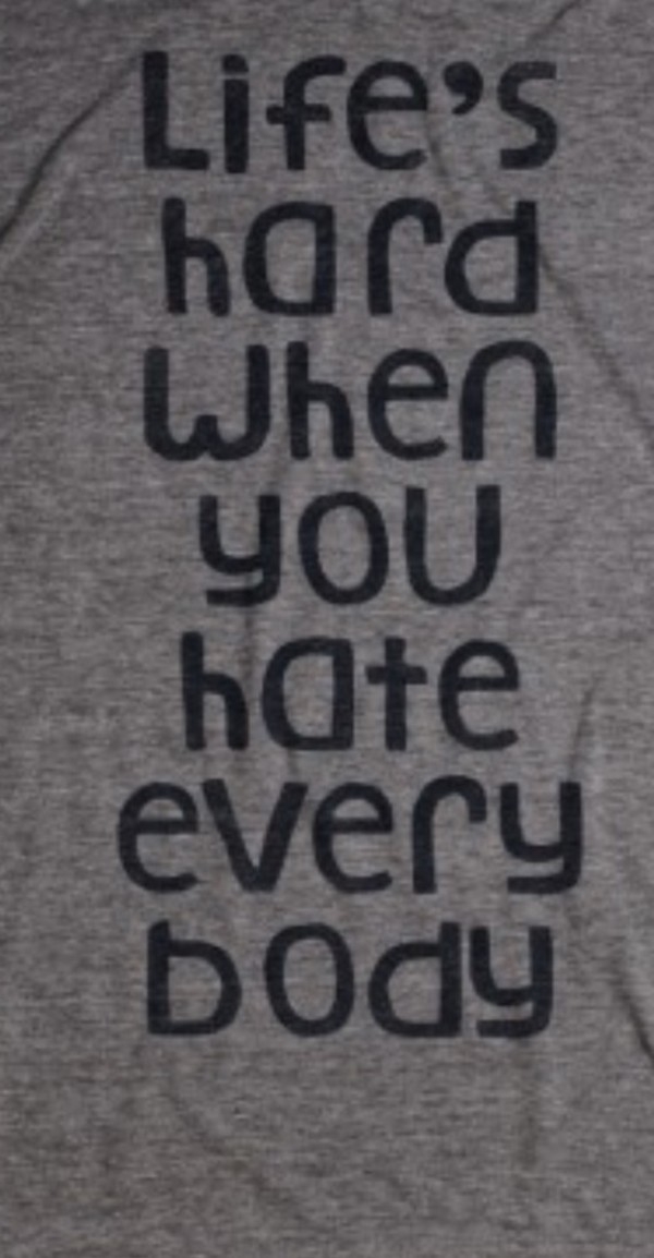 shirt grey shirt life is hard hate everybody life is hard if you hate everybody skreened