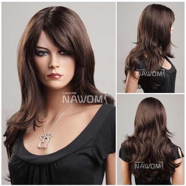 Medium long hair wig for women dark brown wigs - Buy Cheap ... f404730cc