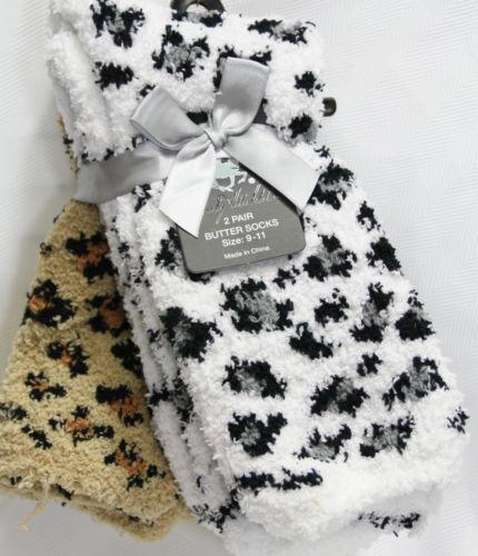 Slipper Fuzzy Butter Crew Socks Cheetah Leopard Print 2pr PK Warm Womens 9 11   eBay