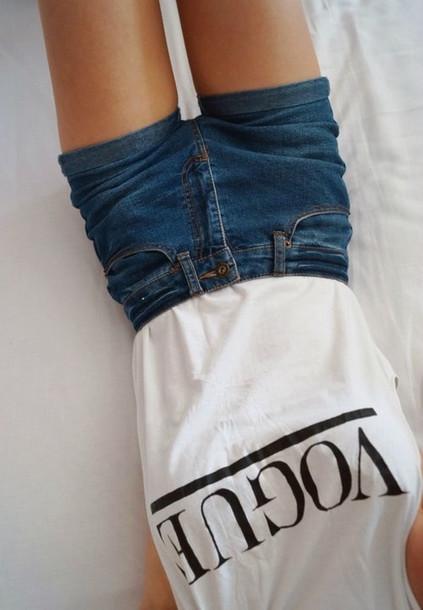 d8c853b49 shirt vogue graphic tee t-shirt shorts jeans High waisted shorts denim  shorts top white