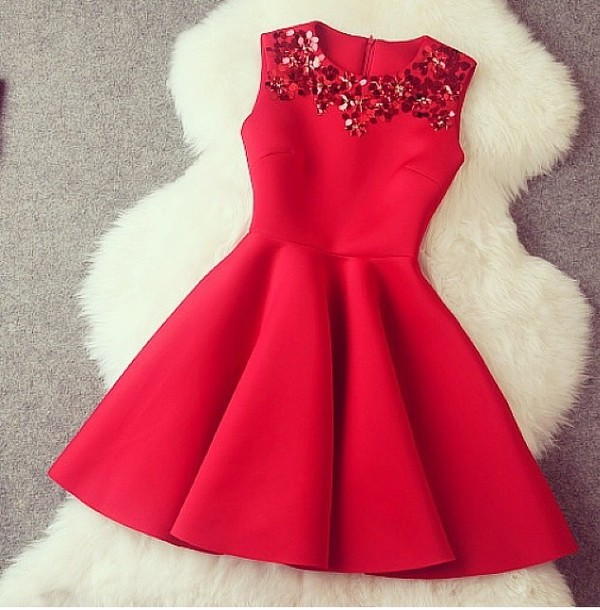 Gorgeous a line red short dress wit..