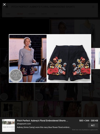 shorts navy blue shorts navy blue shorts whit flowers anna camp flowered shorts pitch perfect floral embroidered