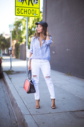 jeans,light blue shirt,distressed white jeans,black and red bag,black cap,brown sandals,blogger