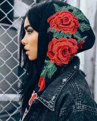 sweater red roses black rose