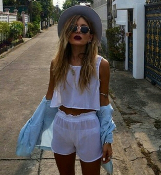 jumpsuit see through mesh fedora hat sunglasses style indie
