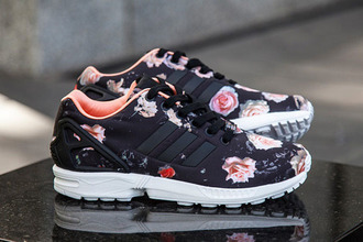 shoes adidas zx flux flowers floral black pink