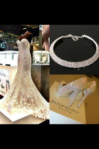 high heels prom dress necklace outfit swarosvki crystals yls crystal mermaid prom dresses heals dress