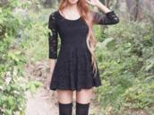 dress,lace,black,lace dress,black skater dress,vintage,little black dress,socks,hair,t-shirt,pants,cute dress lace black,black lace dress,beautiful,short dress,lace sleeves,black dress