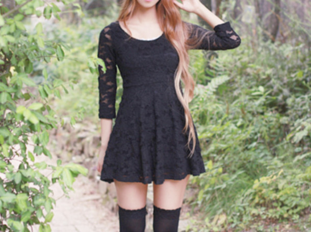 dress lace black lace dress black skater dress vintage little black dress  socks hair t- f08e3b4f6