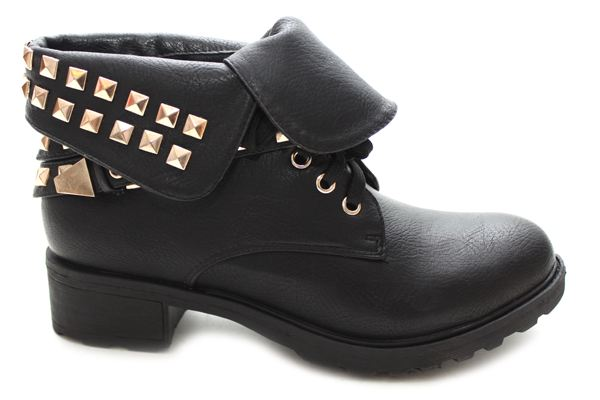 Black remy gold studded military boots at mr shoes uk