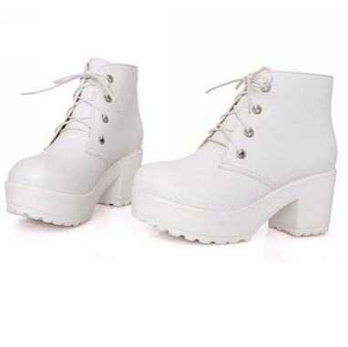 White chunky lace up boots