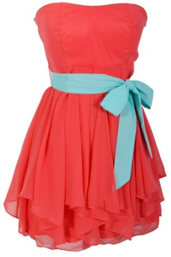 dress ruffled edges chiffon designer dress in coral/mint