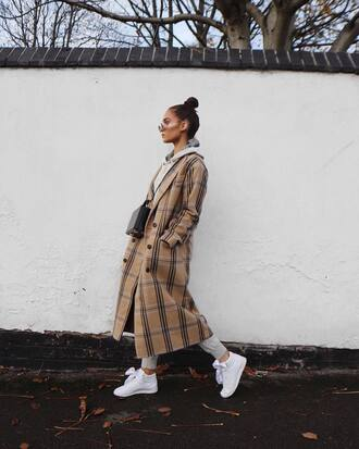 coat tumblr long coat camel long coat camel camel coat sneakers white sneakers bag black bag sunglasses plaid plaid coat