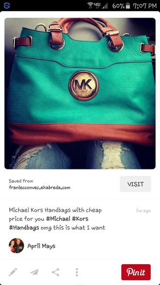 bag michael kors leather teal
