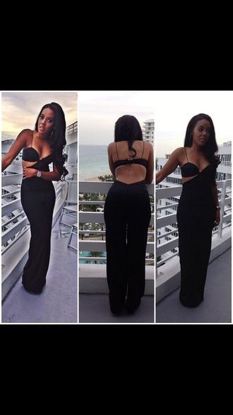 jumpsuit show off bra cut-out dress cut-out
