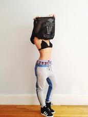 pants,sweatpants,denim,baggy,harem,blouse,shoes,lace bra,black and white,shirt,adidas,adidas shoes