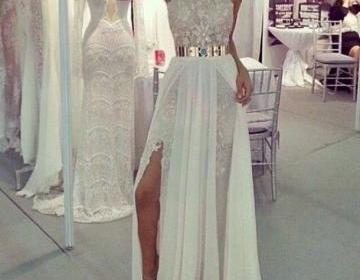 Custom Made A Line Long Lace Prom D..