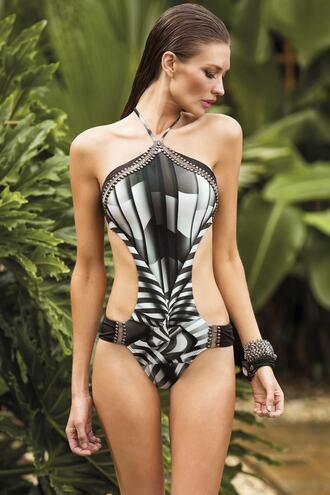 swimwear halter neck paradizia monokini print bikiniluxe