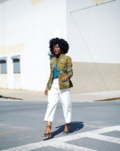 pants,white pants,cropped pants,jacket,green jacket,sandals,high heel sandals,sandal heels,embroidered jacket,embroidered