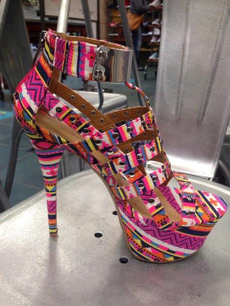 shoes heels high-heels open toes multicolor