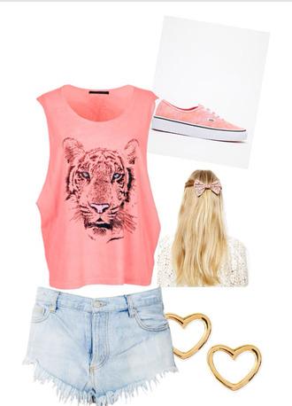shirt tiger face graphic tee converse high waisted shorts
