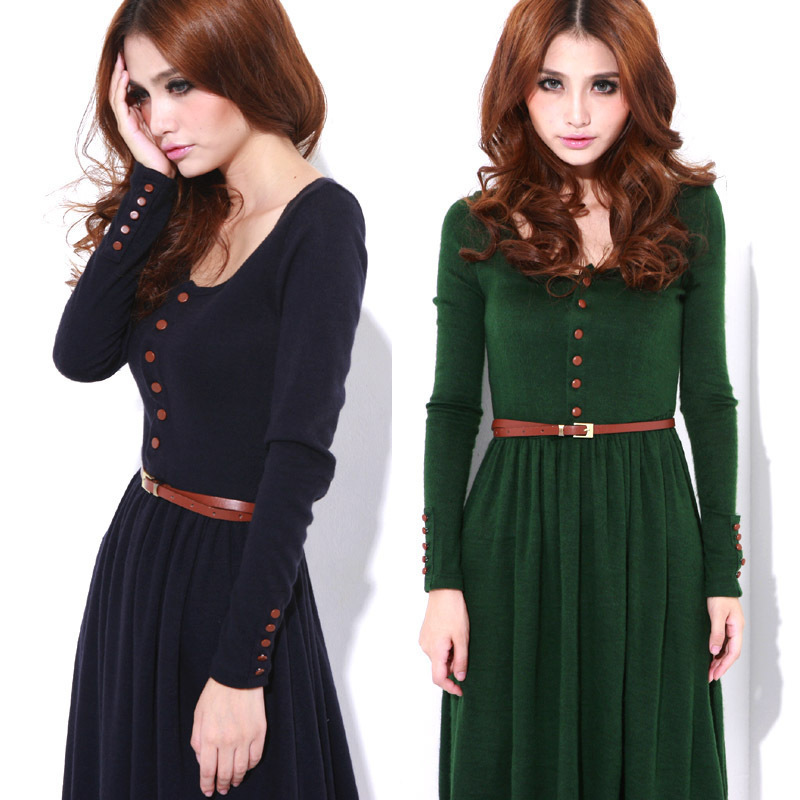 Free shipping 2014 new arrival women spring vintage basic knitted long-sleeve slim dress full dress Black Green Dresses A12 | Amazing Shoes UK