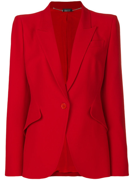 Alexander Mcqueen blazer women silk red jacket