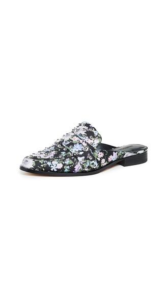 mules floral print black shoes
