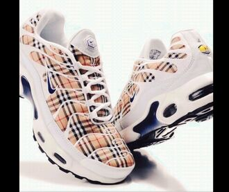 shoes burberry trainers tn nike nike tn vintage retro rave nova check checkered beige nude 90s style 80s style air max